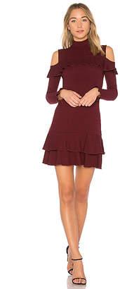 Nicholas Rib Knit Ruffle Mini Dress