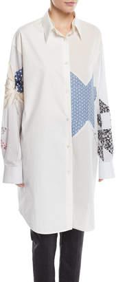 Calvin Klein Patchwork Button-Front Long-Sleeve Oversized Shirtdress