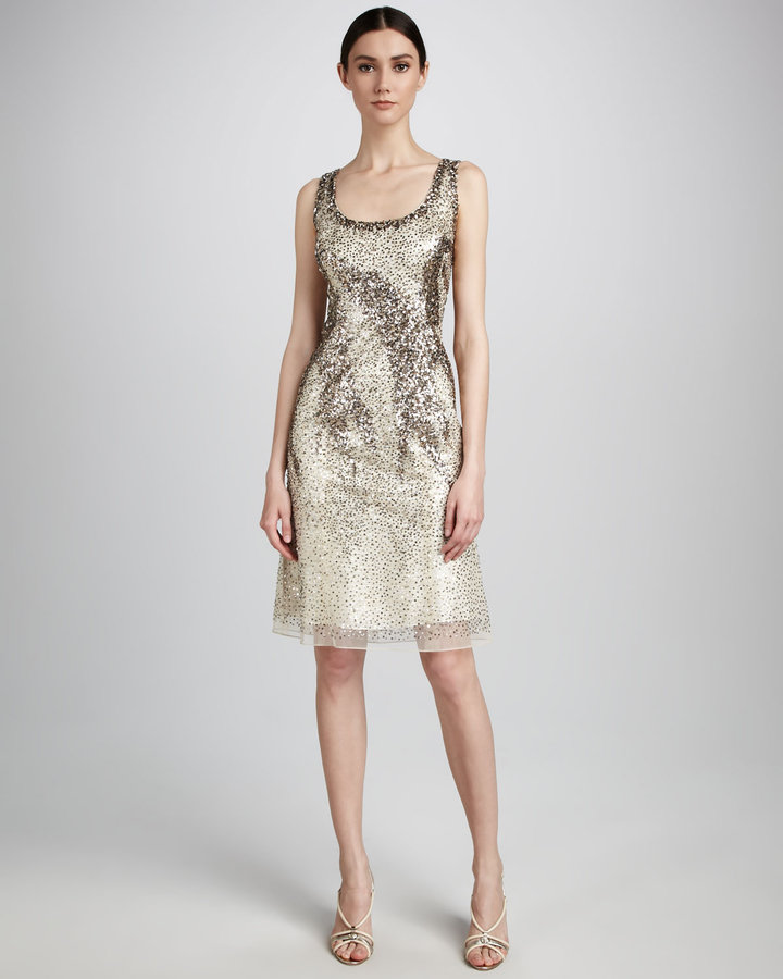 Carolina Herrera Sequin Cocktail Dress