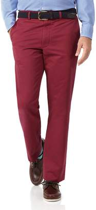 Charles Tyrwhitt Red Classic Fit Flat Front Washed Cotton Chino Pants Size W32 L30