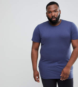 Asos DESIGN Plus longline t-shirt with crew neck in navy
