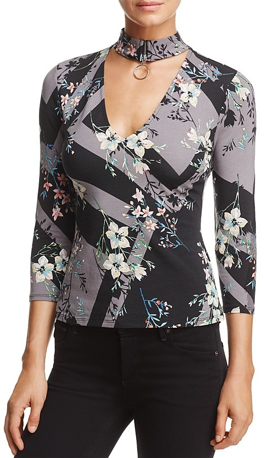 GUESS Irene Cutout Floral Print Top