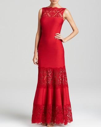 Tadashi Shoji Boat Neck Pintucked Gown $428 thestylecure.com
