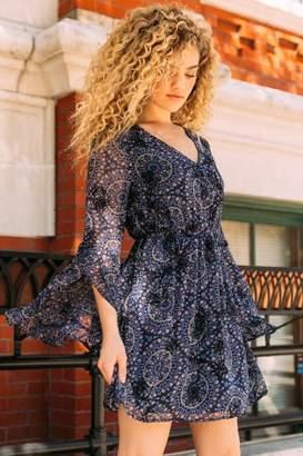 francesca's Amara Ruffle Long Sleeve Dress - Navy