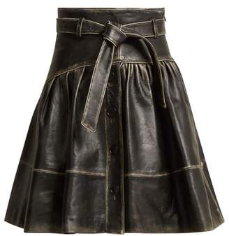 Miu Miu Distressed Leather A Line Skirt - Womens - Black