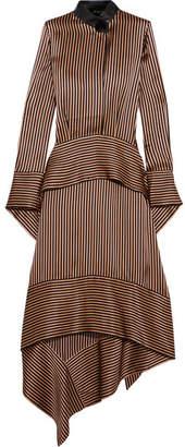 Petar Petrov Leather-trimmed Asymmetric Striped Silk-satin Midi Dress - Bronze