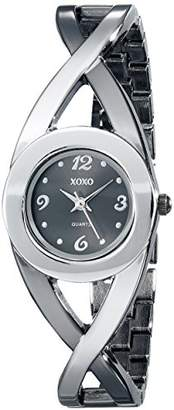 XOXO Women's XO5218 Dial Two-Tone Half Cuff and Half Bracelet Watch