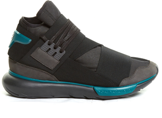 Y-3 Qasa stretch-leather high-top trainers $323 thestylecure.com