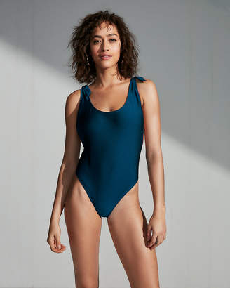 Express Ultra High Leg Shimmer Tie One-Piece Swimsuit