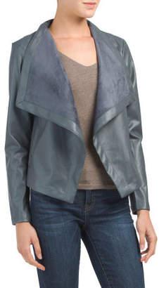 Juniors Faux Leather Drape Jacket