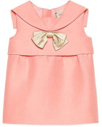 Gucci Baby cotton silk dress with bow