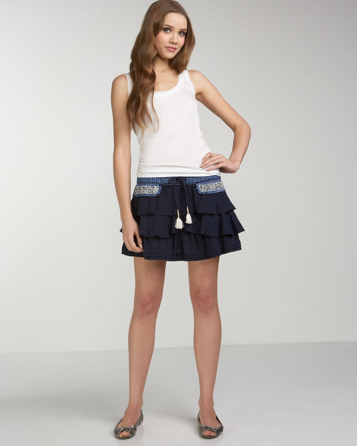 Juicy Couture Bella Tiered Embroidered Skirt