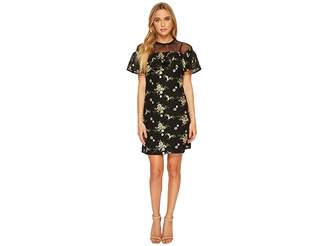Donna Morgan Short Sleeve Embroidered Lace with Illusion Neckline and Tie Women's Clothing