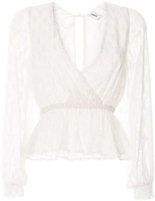 SUBOO lurex wrap front blouse