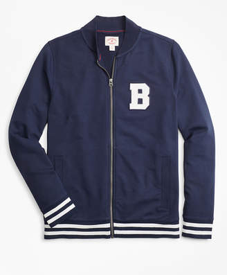 Brooks Brothers French Terry Letterman Lightweight Baseball Jacket