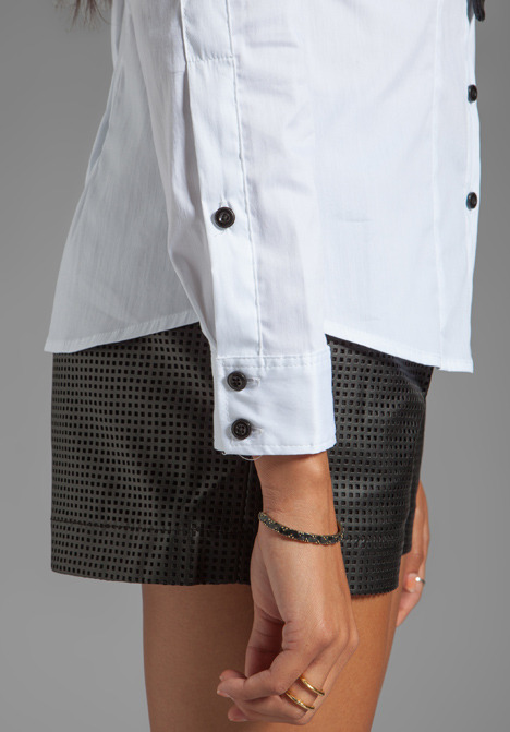 Milly Monica Leather Tie Blouse