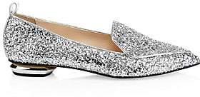 Nicholas Kirkwood Women's Beya Metallic Leather Beveled Heel Loafers