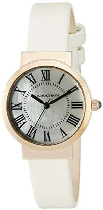 Cabochon Women's 'Sophistique' Swiss Quartz Stainless Steel and White Leather Casual Watch (Model 1303S-16)