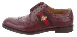 Gucci Web-Trimmed Wingtip Oxfords