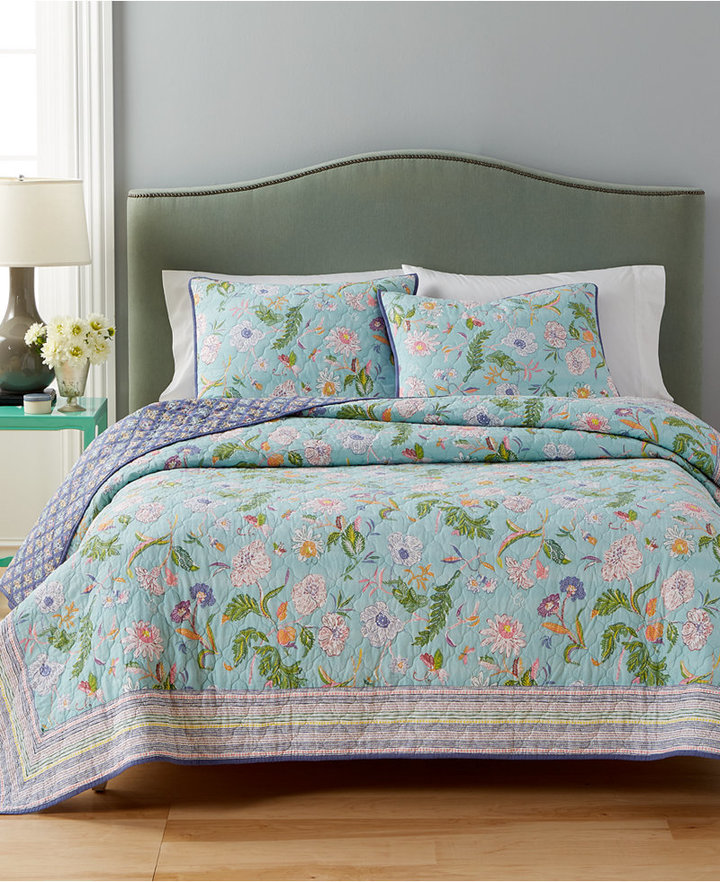 Martha Stewart Collection Cotton Sophie Reversible Floral Full/Queen Quilt, Only at Macy's