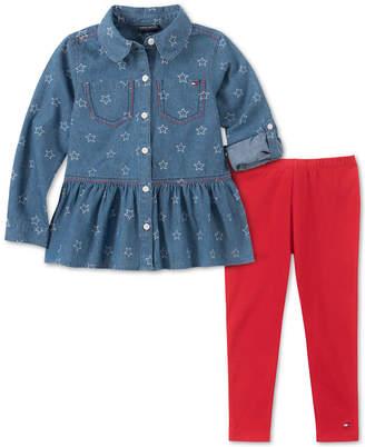 Tommy Hilfiger Little Girls Denim Shirt & Leggings Set