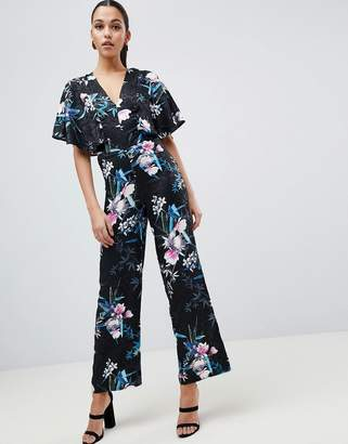 Lipsy Printed Kimono Sleeve Jumpsuit