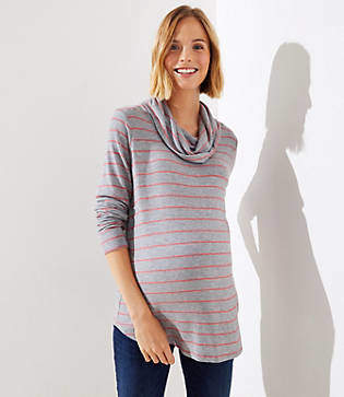 LOFT Maternity Striped Cowl Neck Top