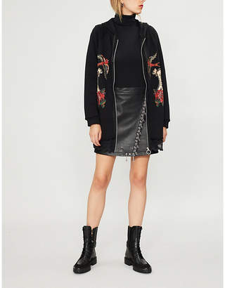 Pinko Spoletta printed cotton-jersey and lace hoody