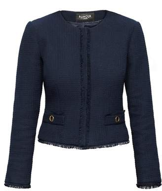 Rumour London - Gabrielle Navy Tweed Jacket with Fringing Detail