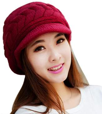 e0a49aa9d14 at Amazon Canada · Mikey Store Women Hat Winter Skullies Beanies Knitted  Hats Rabbit Fur Cap (Red)