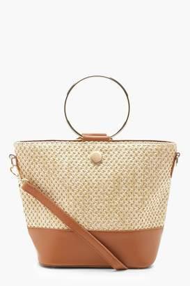 boohoo Straw & Ring Handle Bucket Cross Body