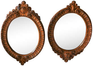 One Kings Lane Vintage Antique Hand-Carved Mirrors - Set of 2 - Reclaimed Collection