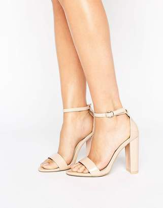Glamorous Patent Barely There Block Heeled Sandals