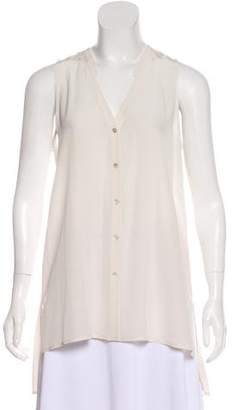 Eileen Fisher Silk Sleeveless Button-Up Top
