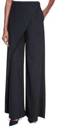 Zac Posen Wide-Leg Crossover Pants, Black $1,990 thestylecure.com
