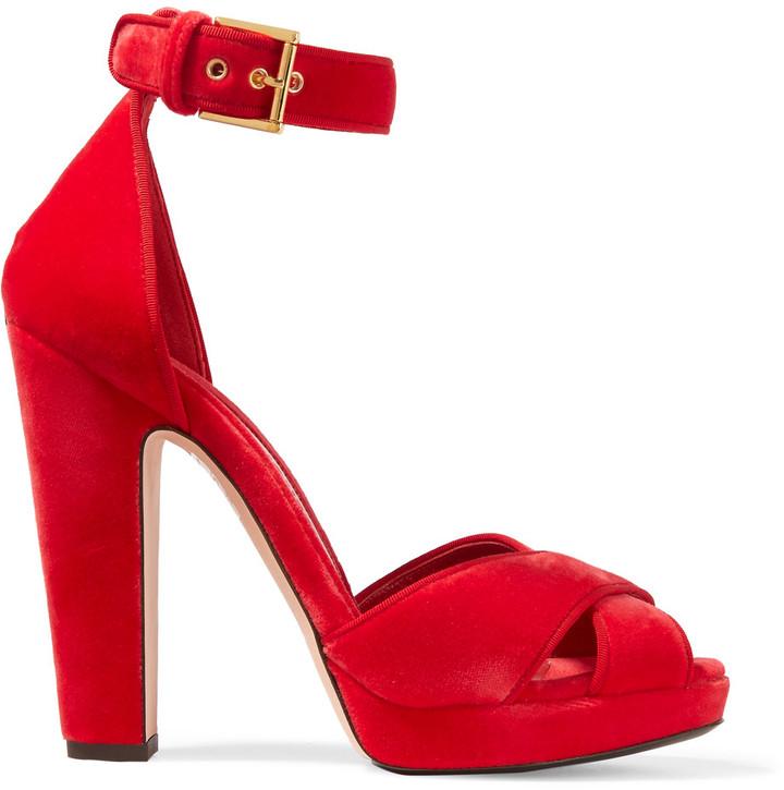 Alexander McQueenAlexander McQueen Velvet platform sandals