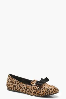 boohoo Bow Trim Leopard Slipper Ballets