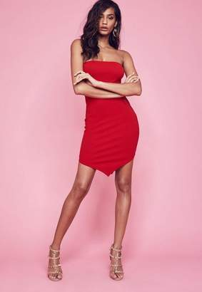 Missguided Red Stretch Crepe Hanky Hem Bodycon Dress