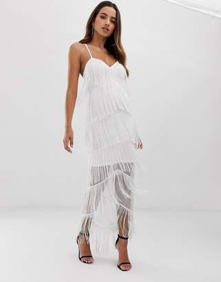 Asos Design DESIGN fringe mesh strappy maxi bodycon dress