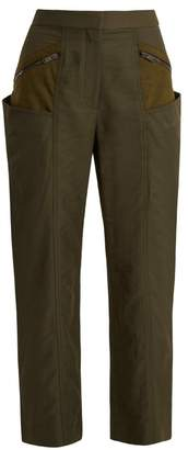 Stella McCartney Straight Leg Contrast Panel Cropped Trousers - Womens - Dark Green