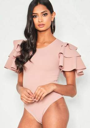 8749779ae4 at Missy Empire · Missy Empire Missyempire Cora Pink Layered Frill Short  Sleeve Bodysuit