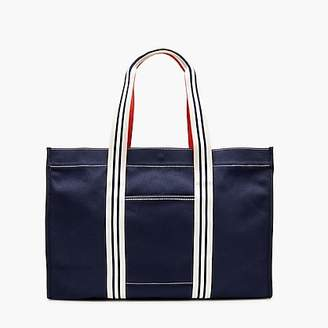 J.Crew Large canvas tote with striped straps