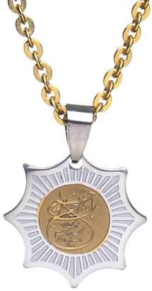 "Charm & Chain Islamic Jewelries Engraved Bismi Allah Charm Chain Necklace Islamic Muslim Islam Quran God (18"" Gold Pt Chain)"