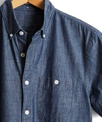 Todd Snyder Short Sleeve Japanese Chambray Button Down Shirt