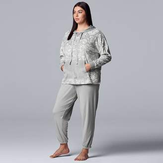 Vera Wang Plus Size Simply Vera Hooded Velour Pajama Top & Pajama Pants Set