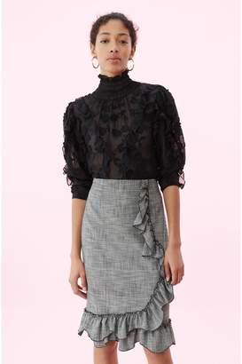 Rebecca Taylor Silk Embroidered Ruffle Top