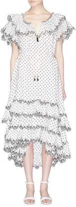 Zimmermann 'Jaya' tiered ruffle dot embroidered dress