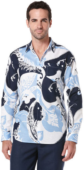 Cubavera Slim Fit Long Sleeve Ornate Print Shirt