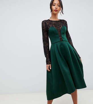 Asos Tall DESIGN Tall long sleeve lace top prom midi dress