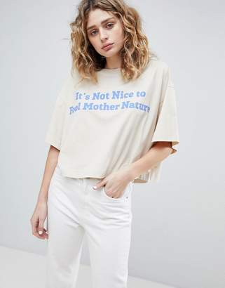 Weekday Cropped T-Shirt with Logo